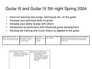 Guitar III and Guitar IV 5th night Spring 2004