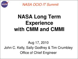 NASA Long Term  Experience  with CMM and CMMI