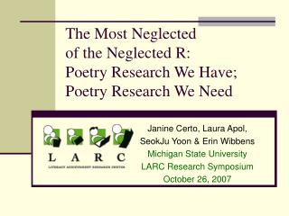 The Most Neglected  of the Neglected R:   Poetry Research We Have;  Poetry Research We Need