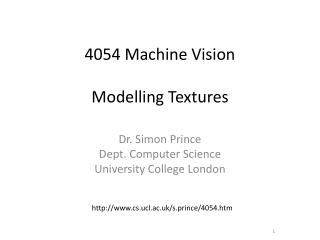 4054 Machine Vision Modelling  Textures