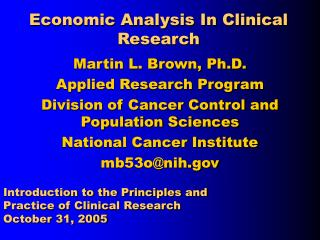 Economic Analysis In Clinical Research