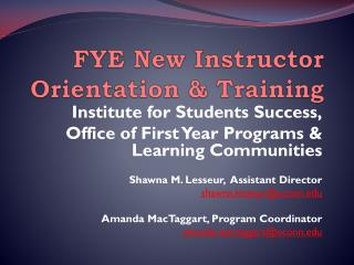 FYE New Instructor Orientation & Training
