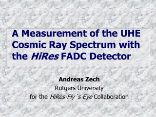 A Measurement of the UHE Cosmic Ray Spectrum with the  HiRes  FADC Detector