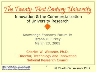 The Twenty-First Century University  Innovation & the Commercialization  of University Research