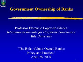 Government Ownership of Banks