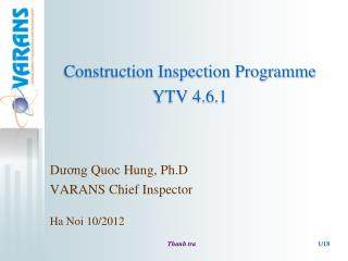 Construction Inspection Programme YTV 4.6.1