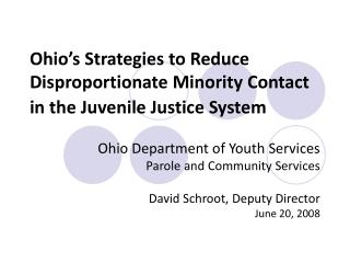 Ohio's Strategies to Reduce Disproportionate Minority Contact in the Juvenile Justice System