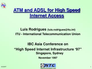 ATM and ADSL for High Speed Internet Access
