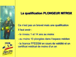 La qualification PLONGEUR NITROX
