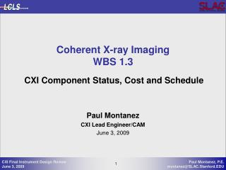 Coherent X-ray Imaging WBS 1.3