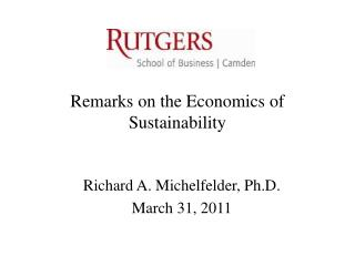 Remarks on the Economics of Sustainability