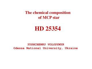 The chemical composition   of MCP star HD 25354
