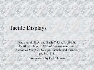 Tactile Displays