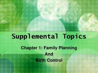 Supplemental Topics