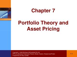 Chapter 7 Portfolio Theory and  Asset Pricing