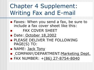 Chapter 4 Supplement: Writing Fax and E-mail