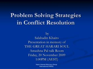 Problem Solving Strategies in Conflict Resolution