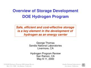 Overview of Storage Development DOE Hydrogen Program