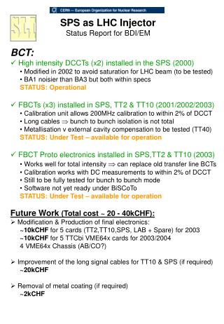 SPS as LHC Injector Status Report for BDI/EM