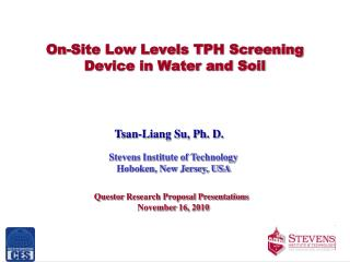 On-Site Low Levels TPH Screening Device in Water and Soil