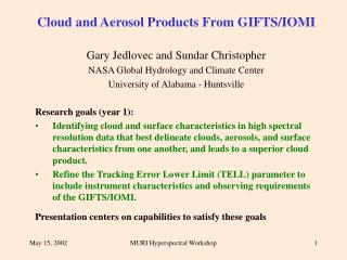 Cloud and Aerosol Products From GIFTS/IOMI