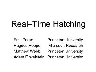 Real–Time Hatching