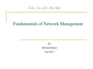 Fundamentals of Network Management