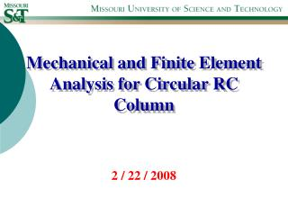 Mechanical and Finite Element Analysis for Circular RC Column