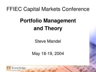 FFIEC Capital Markets Conference