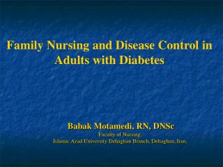 Family Nursing and Disease Control in Adults with Diabetes