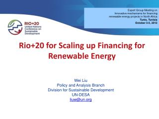 Rio+20 for Scaling up Financing for Renewable Energy