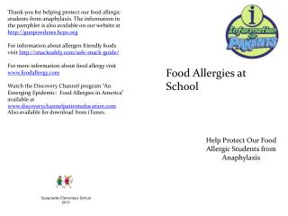 Help Protect Our Food Allergic Students from Anaphylaxis