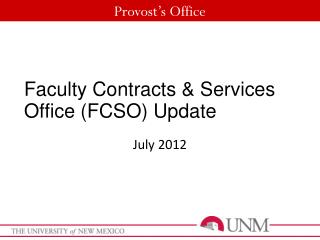 Faculty Contracts & Services Office (FCSO) Update