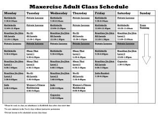 Maxercise Adult Class Schedule