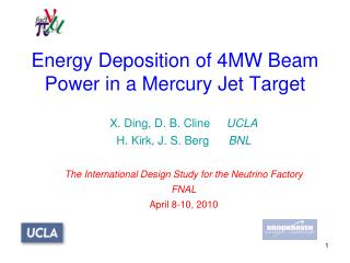 Energy Deposition of 4MW Beam Power in a Mercury Jet Target