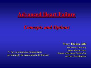 Advanced Heart Failure Concepts and Options
