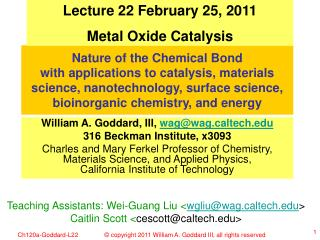 Lecture 22 February 25, 2011 Metal Oxide Catalysis