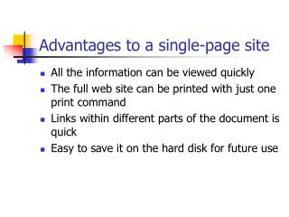 Advantages to a single-page site