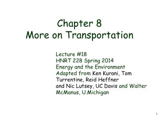 Chapter 8 More on Transportation