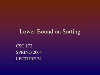 Lower Bound on Sorting