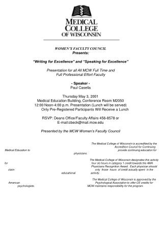 "WOMEN'S FACULTY COUNCIL Presents: ""Writing for Excellence"" and ""Speaking for Excellence"""