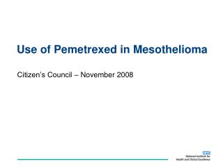 Use of Pemetrexed in Mesothelioma