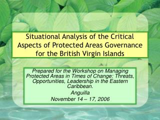 Situational Analysis of the Critical Aspects of Protected Areas Governance for the British Virgin Islands