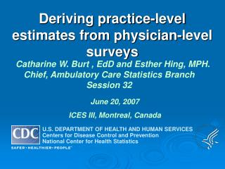 Deriving practice-level estimates from physician-level surveys