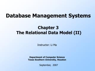 Database Management Systems Chapter 3  The Relational Data Model (II)