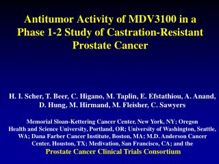 Antitumor Activity of MDV3100 in a Phase 1-2 Study of Castration-Resistant Prostate Cancer
