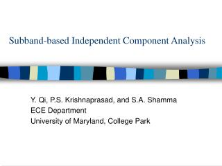 Subband-based Independent Component Analysis