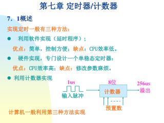 第七章 定时器 / 计数器 7 . 1 概述 实现定时一般有三种方法: l 利用软件实现(延时程序) ; 优点: 简单,控制方便; 缺点 : CPU 效率低。