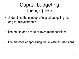 Capital budgeting Learning objectives