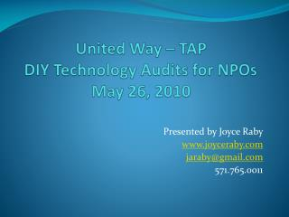 United Way – TAP DIY Technology Audits for NPOs May 26, 2010